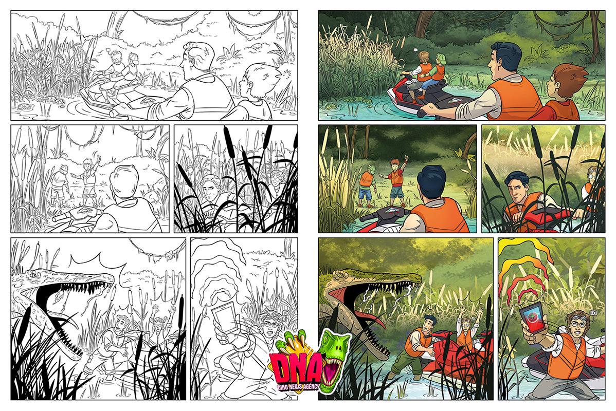 Dinosaur Comic Illustration color byrdylicious