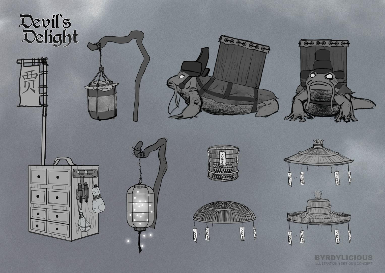 wen gu accessoires character design concept art byrdylicious
