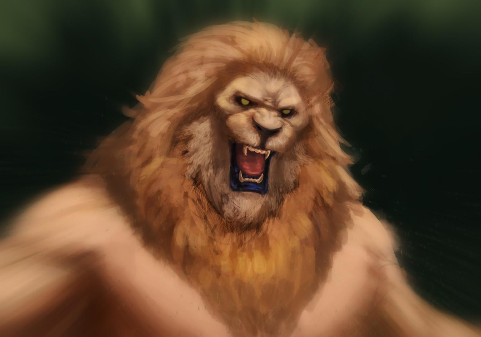 lion man roaring concept